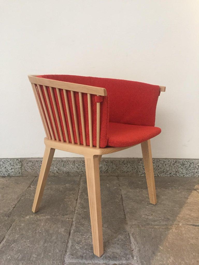Secreto Armchair in Beechwood, Purple Velvet Cushion, Made in Italy For Sale 13