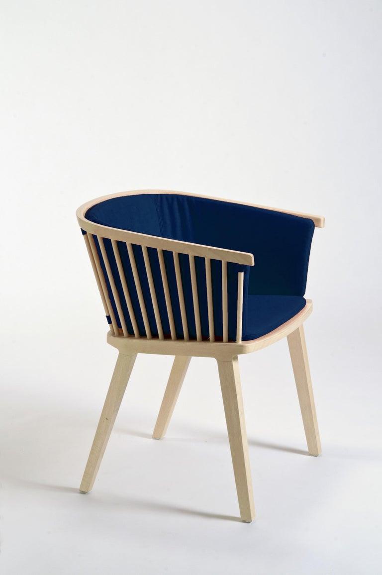 Modern Secreto Armchair in Beechwood, Purple Velvet Cushion, Made in Italy For Sale