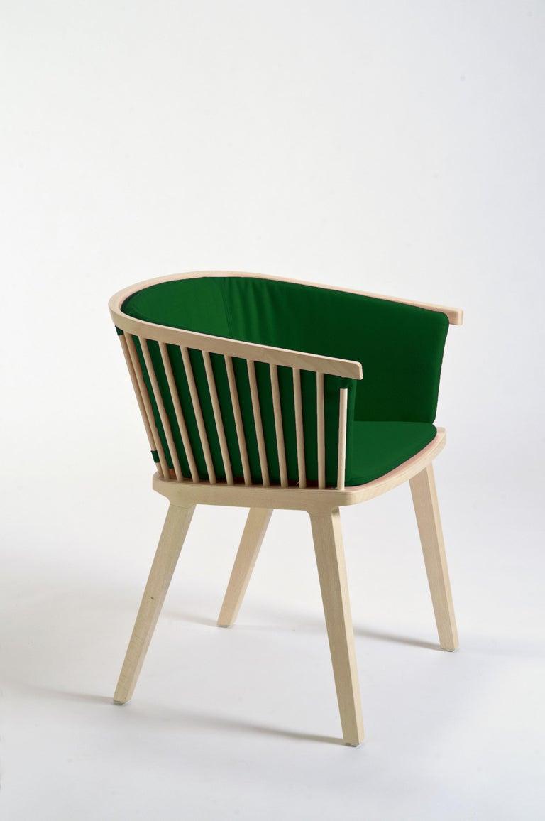 Machine-Made Secreto Armchair in Beechwood, Purple Velvet Cushion, Made in Italy For Sale