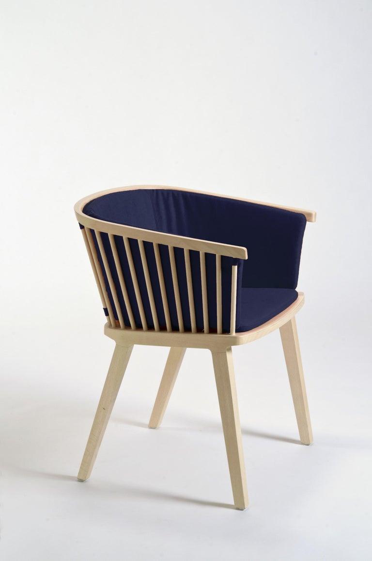 Secreto Armchair in Beechwood, Purple Velvet Cushion, Made in Italy For Sale 1