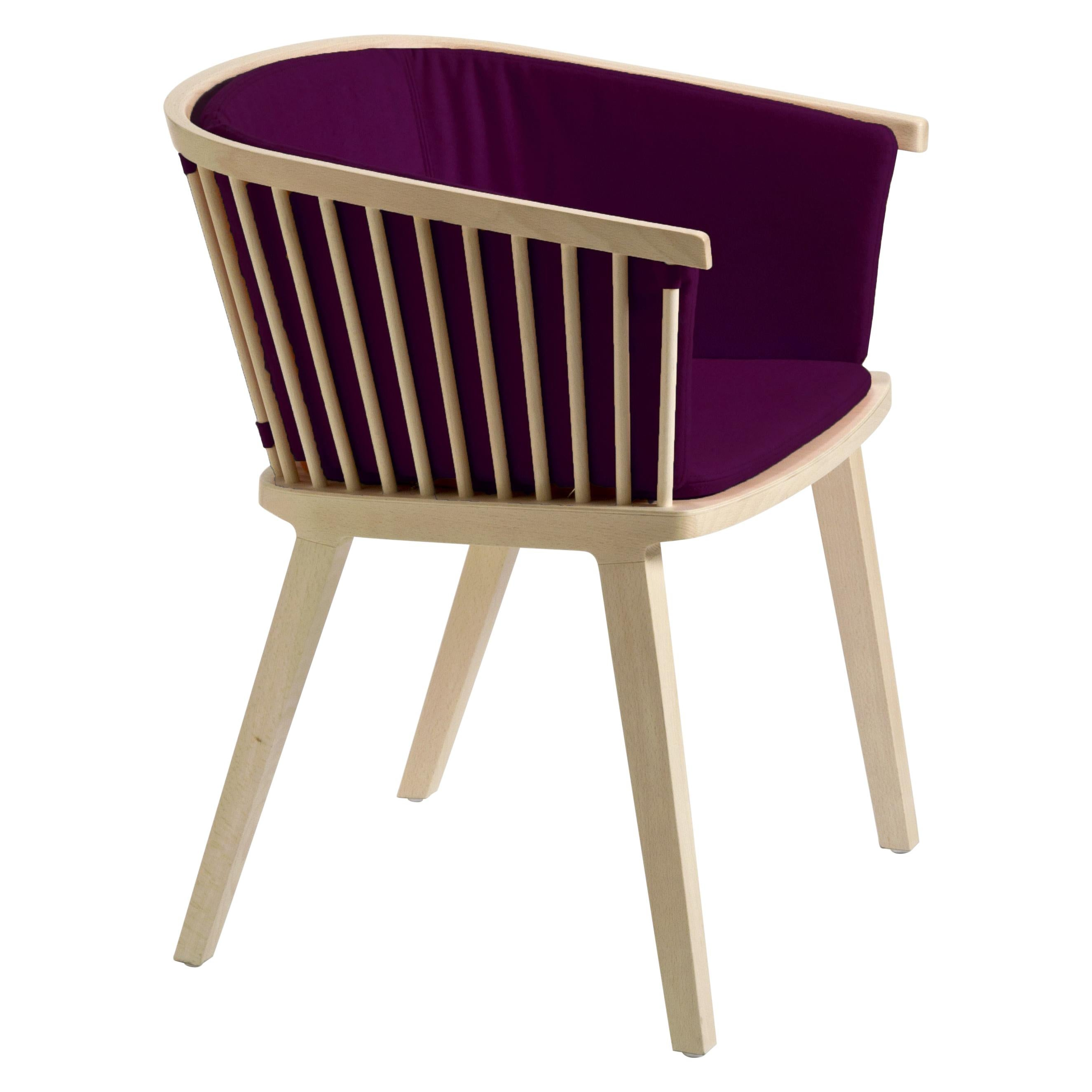 Secreto Armchair in Beechwood, Purple Velvet Cushion, Made in Italy