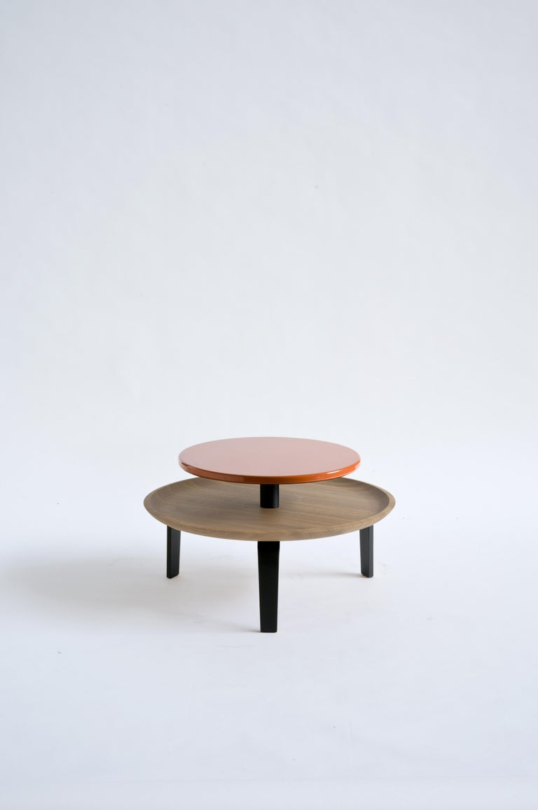 Secreto Round Coffee Table by Colé, Natural Oak and Black Lacquered Top For Sale 11