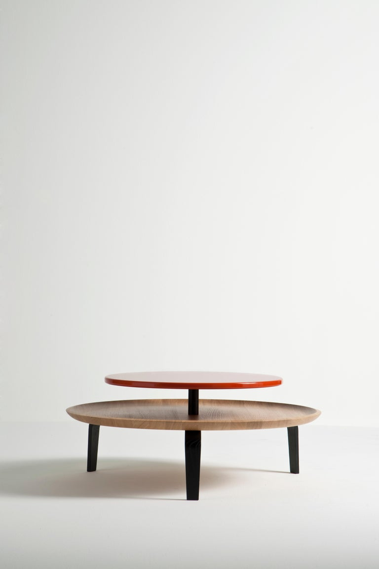 Secreto Round Coffee Table by Colé, Natural Oak and Black Lacquered Top For Sale 13