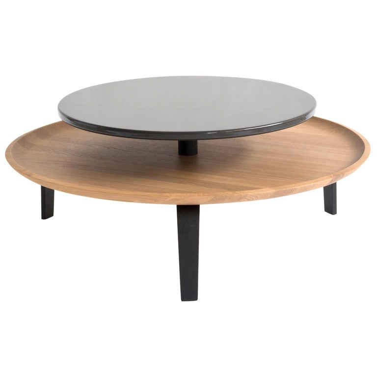 Secreto Round Coffee Table by Colé, Natural Oak and Black Lacquered Top For Sale