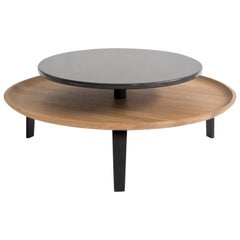 Secreto Round Coffee Table by Colé, Natural Oak and Black Lacquered Top