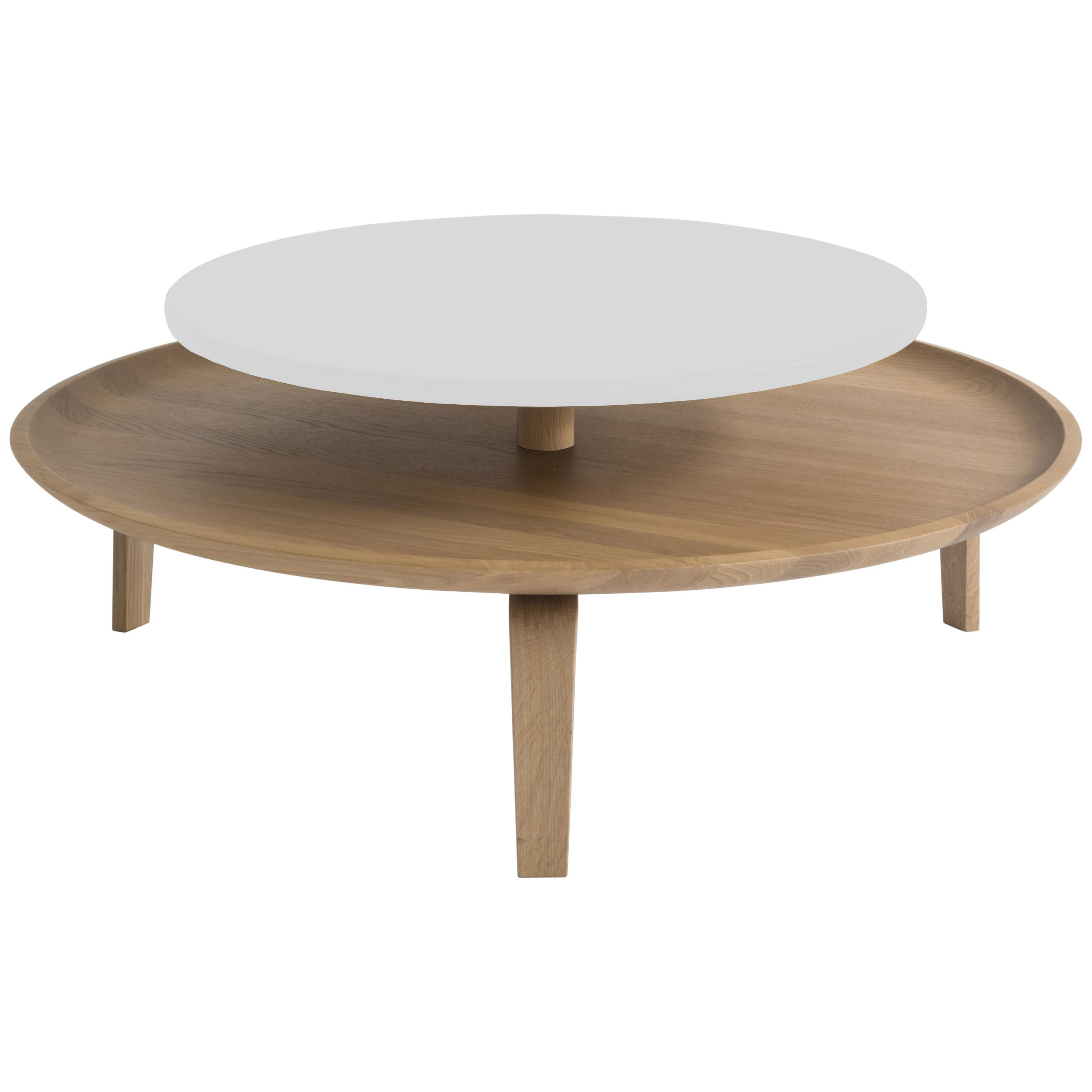 Secreto Round Coffee Table by Colé, Natural Oak and White Lacquered Top