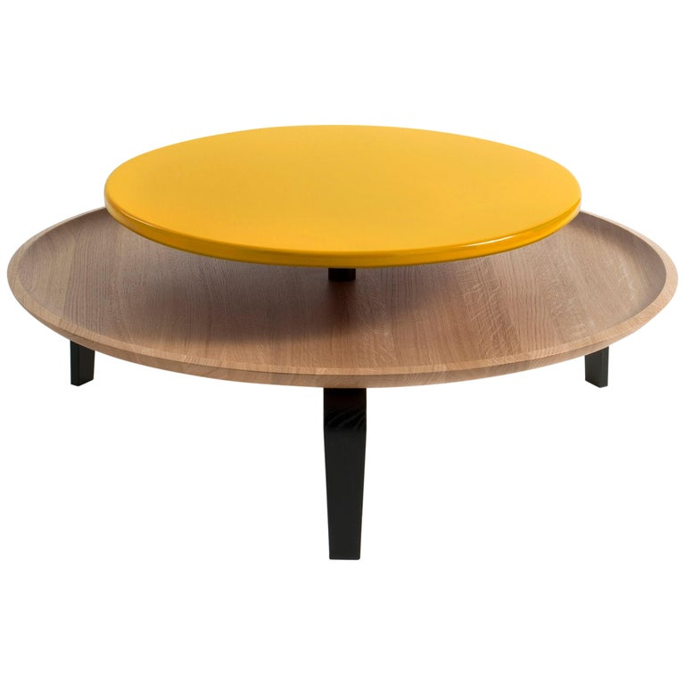 Secreto Round Coffee Table By Colé, Natural Oak And Yellow