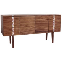 Secretos Credenza, Sideboard in Parota Wood with Handmade Embroidery Detail