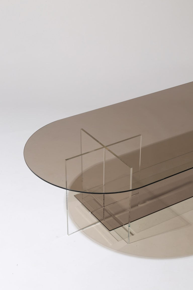 Modern Section Coffee Table, Bronze Glass / Clear Acrylic For Sale