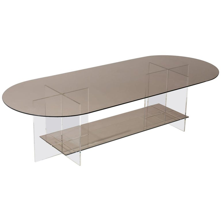Section Coffee Table, Bronze Glass / Clear Acrylic For Sale
