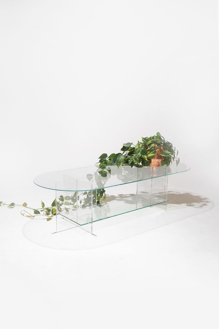 Modern Section Coffee Table, Frosted Glass / Clear Acrylic For Sale