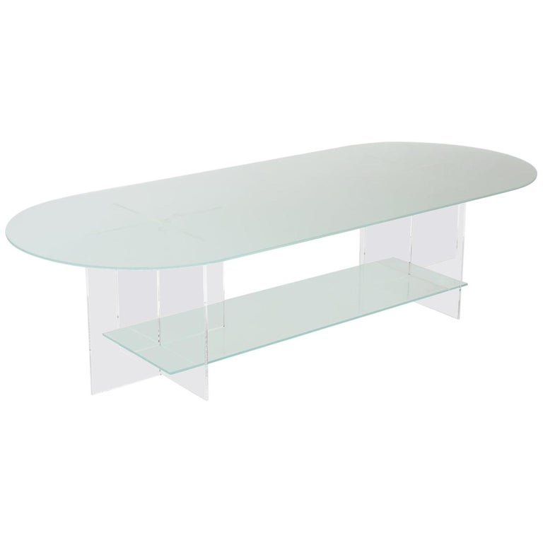 Section Coffee Table Frosted Glass Clear Acrylic For Sale At