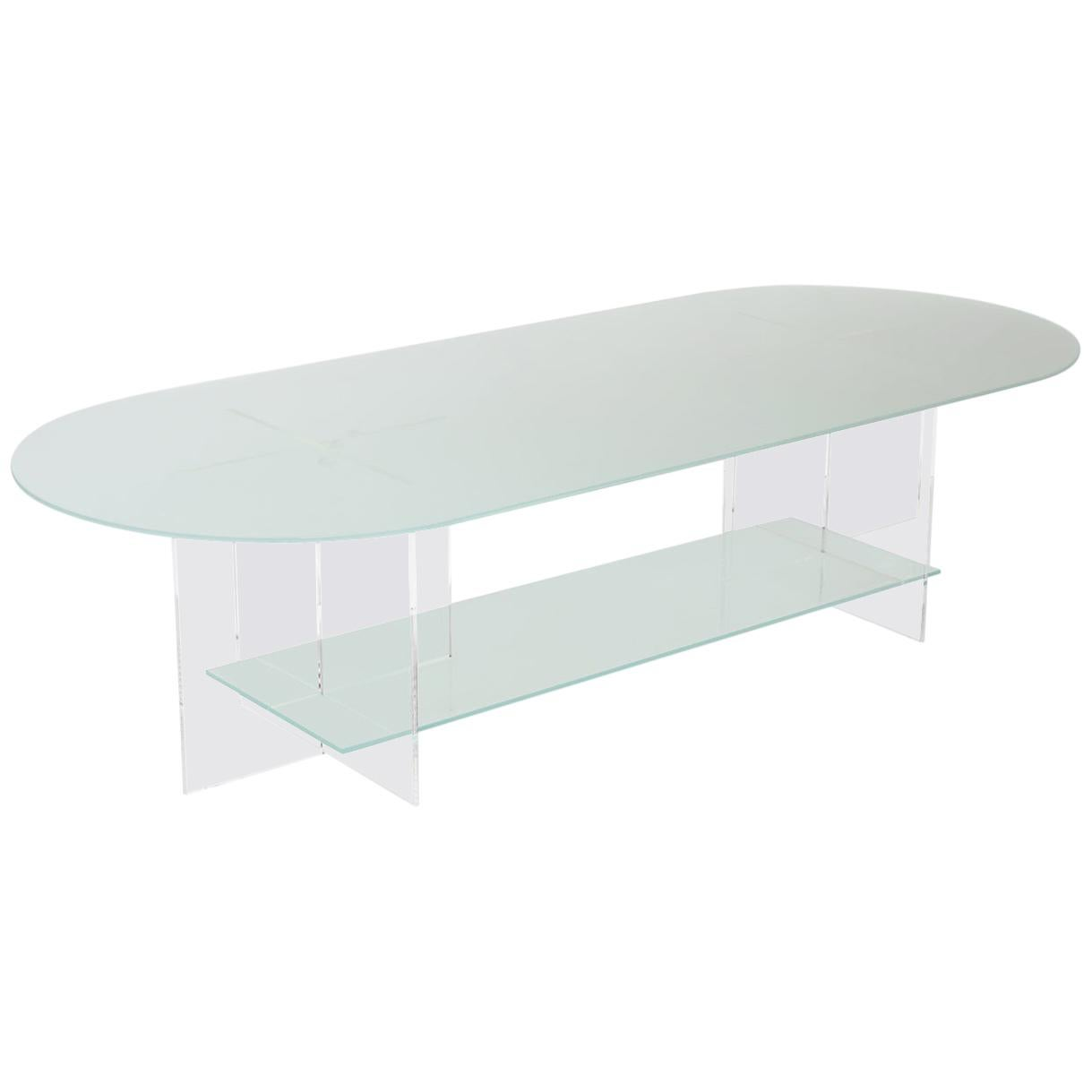 Section Coffee Table, Frosted Glass / Clear Acrylic
