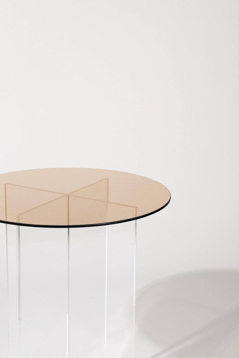 Modern Section Side Table, Rose Glass / Clear Acrylic For Sale