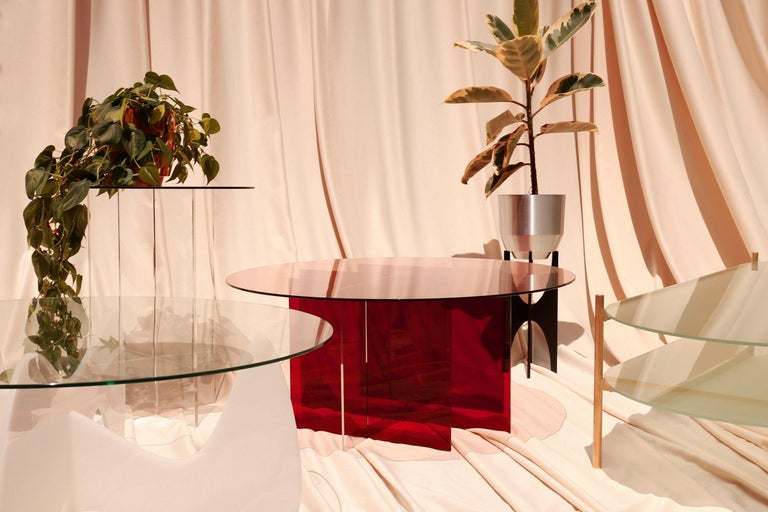 Contemporary Section Side Table, Rose Glass / Clear Acrylic For Sale