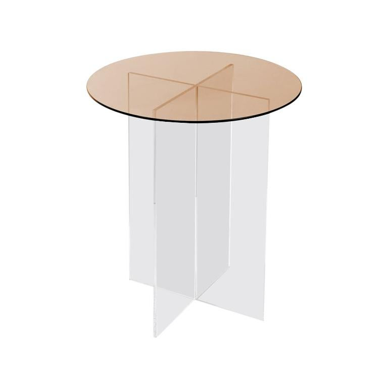 Section Side Table, Rose Glass / Clear Acrylic For Sale