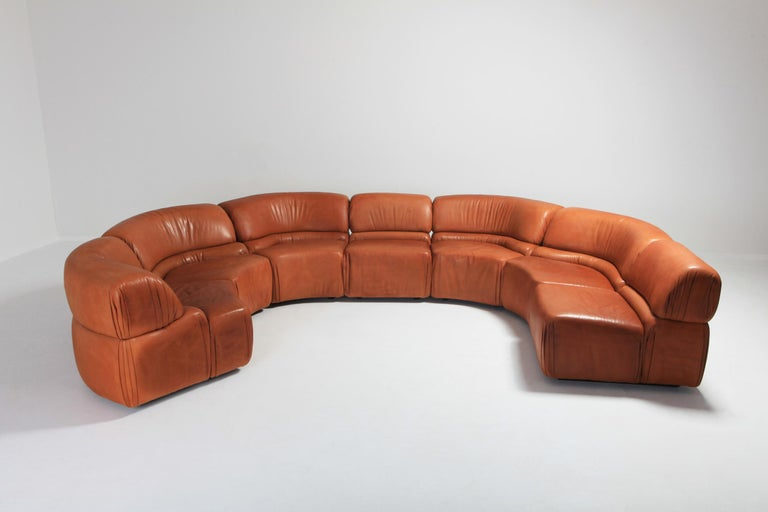 Modular De Sede 'Cosmos' sofa in original cognac leather.