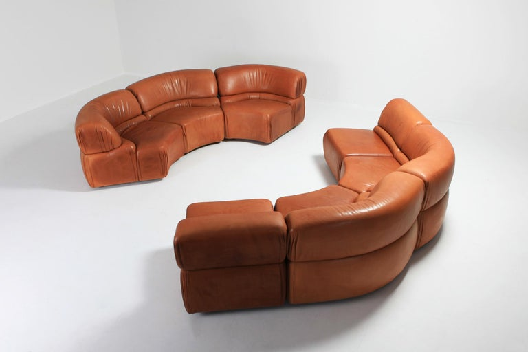 Mid-Century Modern Sectional Cognac Leather Sofa 'Cosmos' by De Sede, Switzerland For Sale