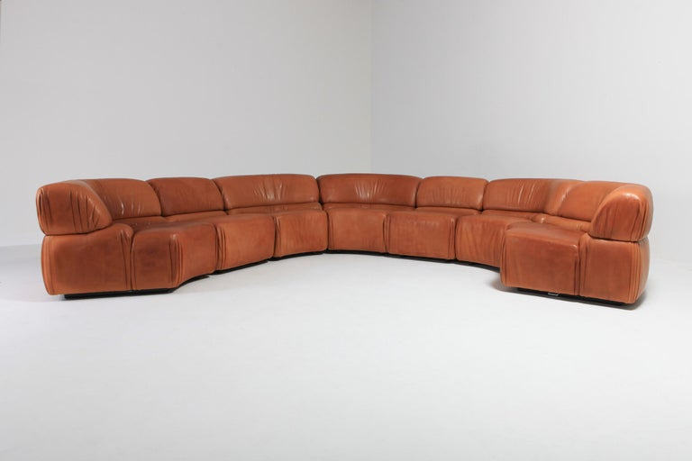 Swiss Sectional Cognac Leather Sofa 'Cosmos' by De Sede, Switzerland For Sale