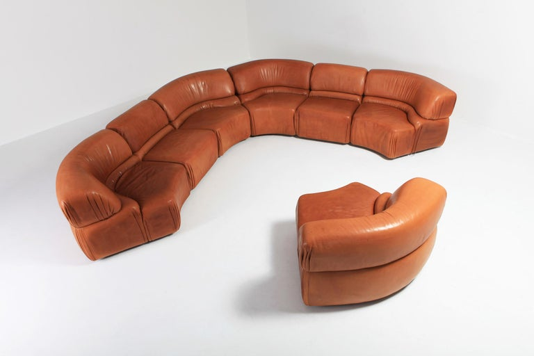 Sectional Cognac Leather Sofa 'Cosmos' by De Sede, Switzerland In Good Condition For Sale In Antwerp, BE