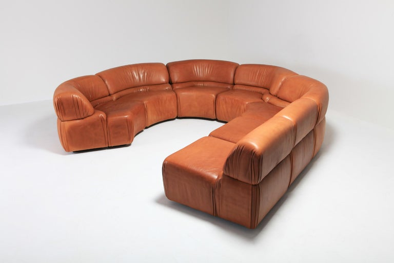 20th Century Sectional Cognac Leather Sofa 'Cosmos' by De Sede, Switzerland For Sale