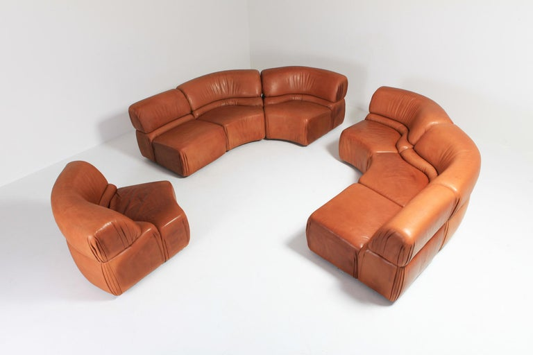 Sectional Cognac Leather Sofa 'Cosmos' by De Sede, Switzerland For Sale 1