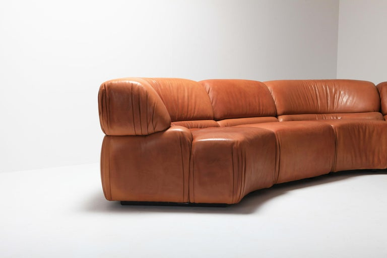 Sectional Cognac Leather Sofa 'Cosmos' by De Sede, Switzerland For Sale 3