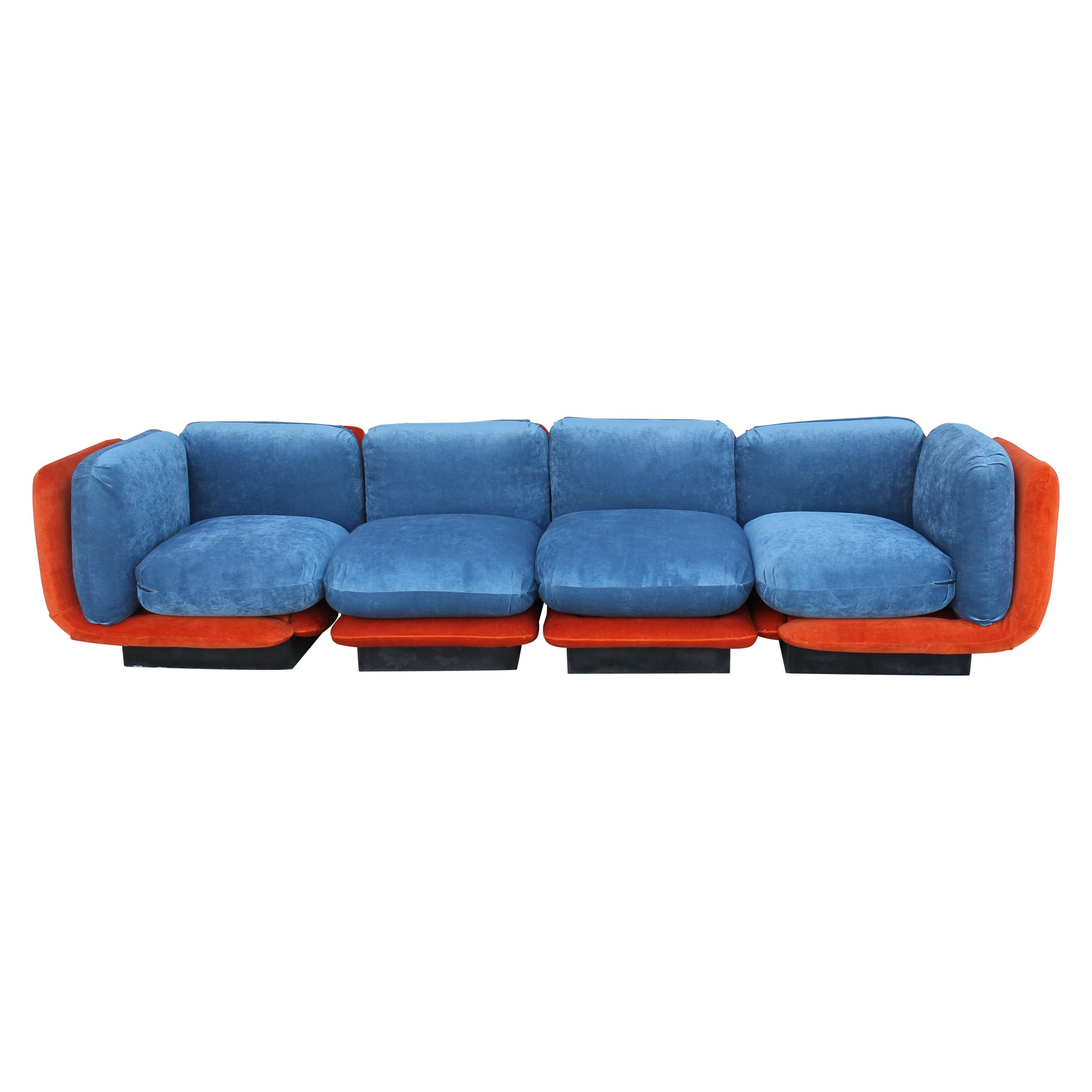 Sectional Couch with Orange and Blue Mohair