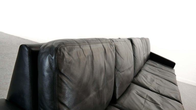 Sectional Modular Conseta Sofa on Runners by COR, Germany in Black Leather  For Sale 5