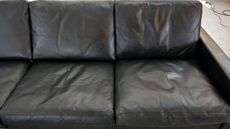 Sectional Modular Conseta Sofa on Runners by COR, Germany in Black Leather  For Sale 7
