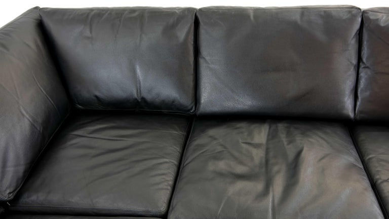 Sectional Modular Conseta Sofa on Runners by COR, Germany in Black Leather  For Sale 8