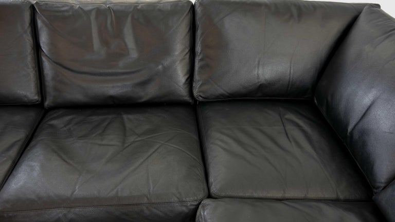 Sectional Modular Conseta Sofa on Runners by COR, Germany in Black Leather  For Sale 9