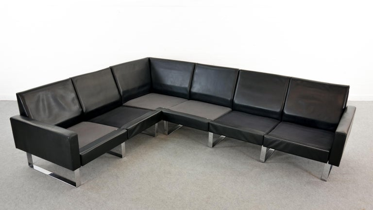 Sectional Modular Conseta Sofa on Runners by COR, Germany in Black Leather  For Sale 11
