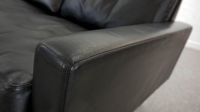 Sectional Modular Conseta Sofa on Runners by COR, Germany in Black Leather  For Sale 13