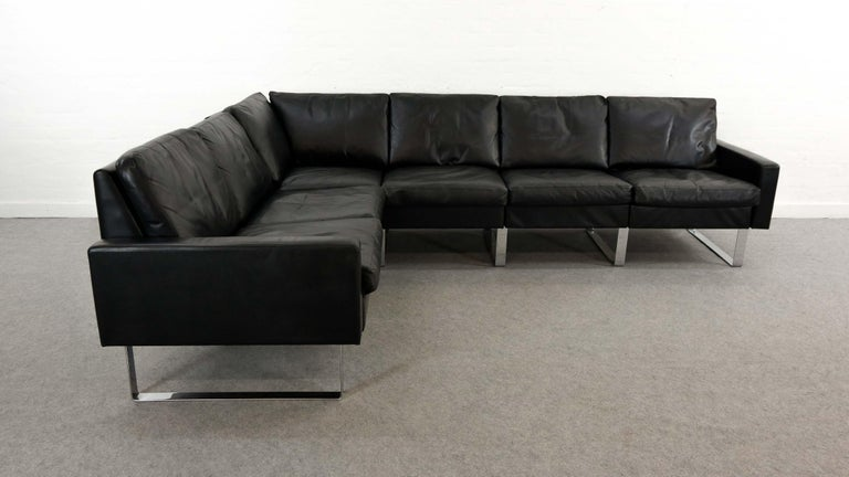 Mid-Century Modern Sectional Modular Conseta Sofa on Runners by COR, Germany in Black Leather  For Sale