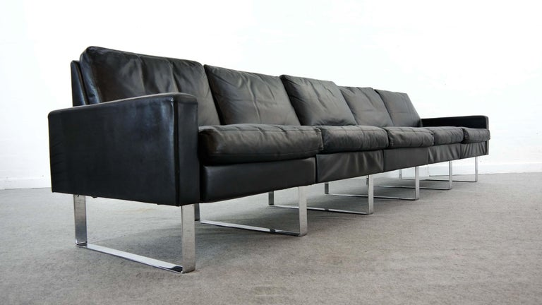 Sectional Modular Conseta Sofa on Runners by COR, Germany in Black Leather  In Good Condition For Sale In Halle, DE