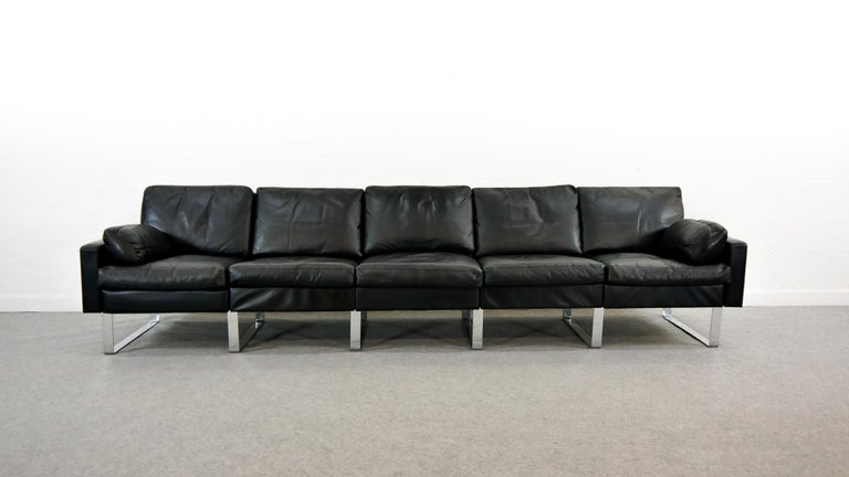 Mid-20th Century Sectional Modular Conseta Sofa on Runners by COR, Germany in Black Leather  For Sale