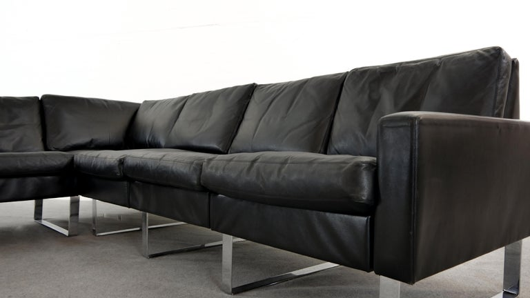 Sectional Modular Conseta Sofa on Runners by COR, Germany in Black Leather  For Sale 1