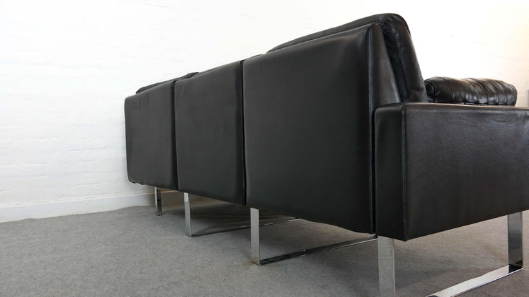 Sectional Modular Conseta Sofa on Runners by COR, Germany in Black Leather  For Sale 2