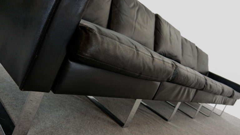 Sectional Modular Conseta Sofa on Runners by COR, Germany in Black Leather  For Sale 4