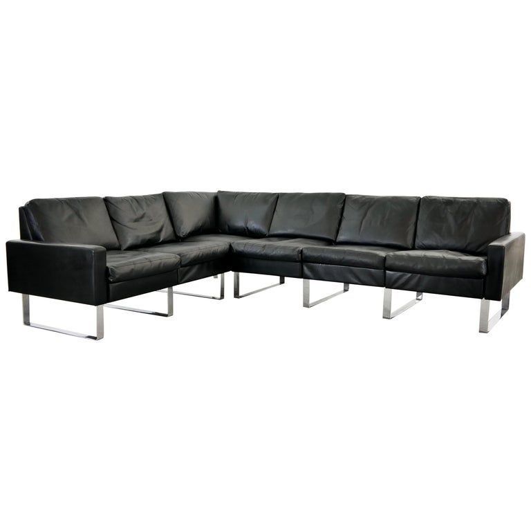 Sectional Modular Conseta Sofa on Runners by COR, Germany in Black Leather  For Sale