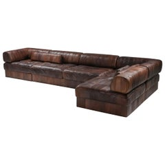 Sectional Modular Sofa in Leather Patchwork by De Sede Switzerland