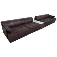 Sectional Patchwork Brown Leather De Sede DS 88 Sofa