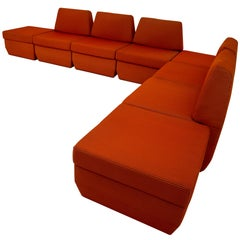 Sectional Retro Sofa in Original Fabric with Extra Storage