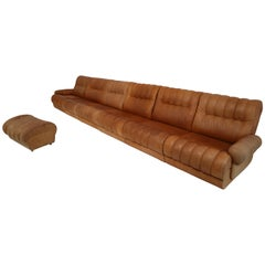 Sectional Sofa and Matching Ottoman in Patinated Cognac Leather Holland 1970s