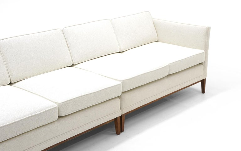 Mid-Century Modern Sectional Sofa, Five-Seat, Two-Piece, Even Arm, off White, Restored, Excellent For Sale