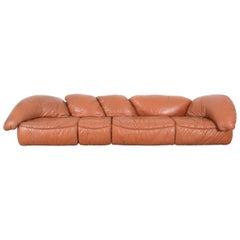 Sectional Sofa Group by Wiener Werkstätten Brown Leather Croissant, Austria 1970