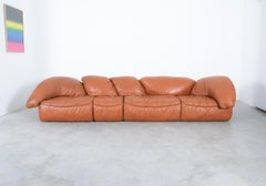 Sectional Sofa Group by Wiener Werkstätten Brown Leather Croissant, Austria 1970