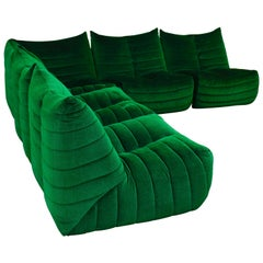 Sectional Sofa in Green Velvet by Gianfranco Grignani, Italy, circa 1970