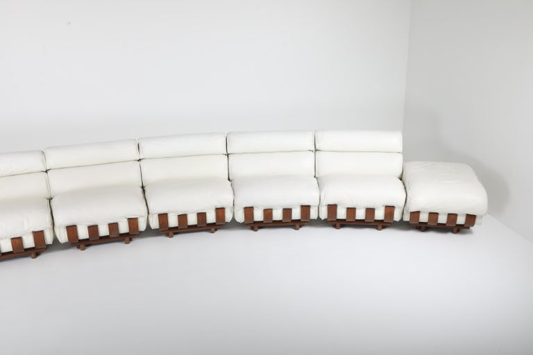Post-Modern Sectional Sofa in White Leather and Walnut Frame by Frigerio For Sale